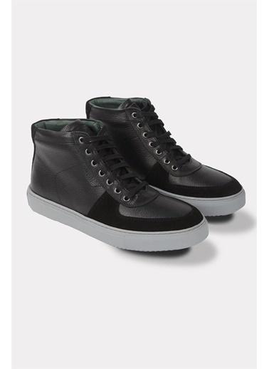 Krähe Gala Siyah Deri Minimal Sneaker Bot Siyah